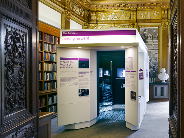 The exhibit seen from the Royal Society library entrance
