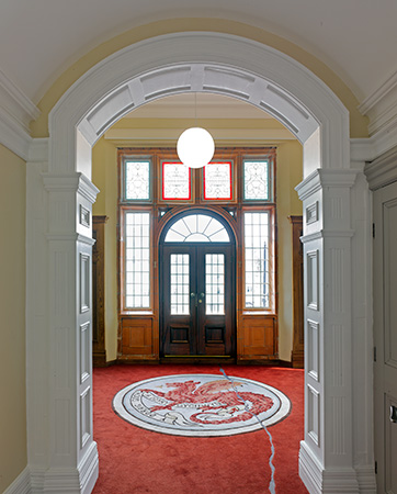 Entrance hall mosaic reproduced in the Kier Hardie Room.